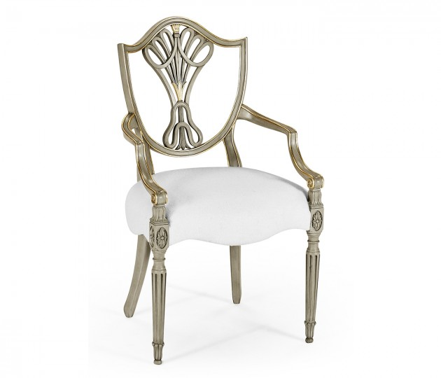 Sheraton Buckingham Grey & Gilded Dining Armchair with Shield Back, Upholstered in COM