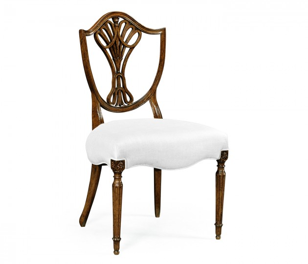 Sheraton Dining Side Chair with Shield Back in Brown Mahogany, Upholstered in COM by Distributor
