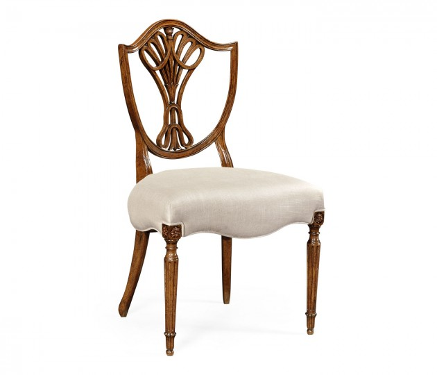 Sheraton Dining Side Chair with Shield Back in Brown Mahogany, Upholstered in MAZO