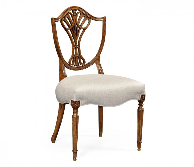 Sheraton Dining Side Chair with Shield Back in Brown Mahogany, Upholstered in COM