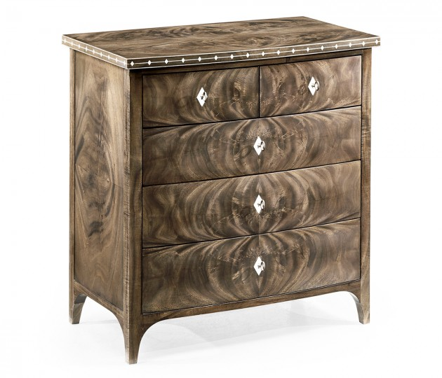 Small Bleached Mahogany Chest of Drawers with Bone Inlay