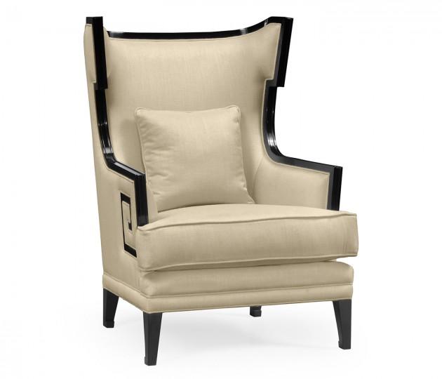 Biedermeier Greek Key Black Occasional Chair