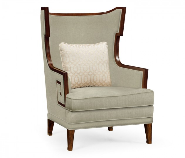 Biedermeier Greek Key Walnut Occasional Chair, Upholstered in MAZO