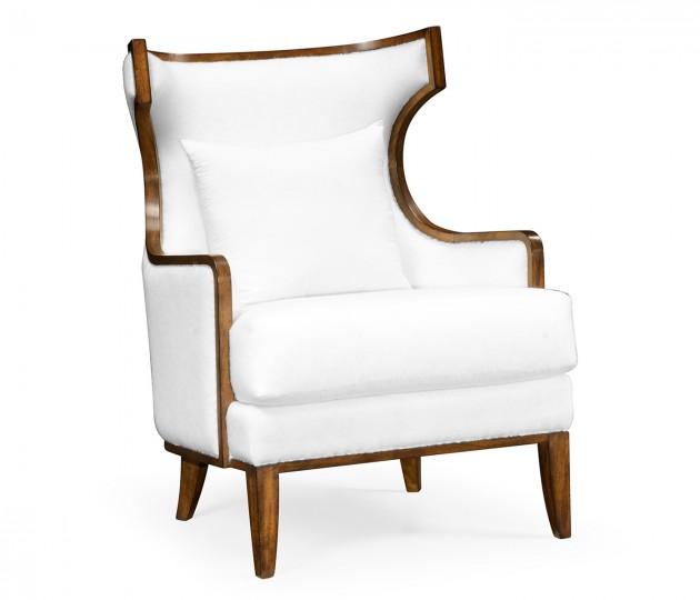 Biedermeier Greek Revival Walnut Occasional Chair, Upholstered in COM by Distributor