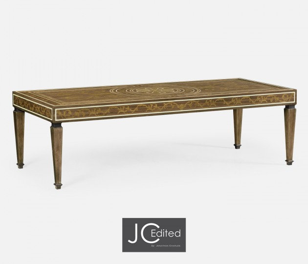 Long Rectangular Tobacco Walnut & Marquetry Coffee Table