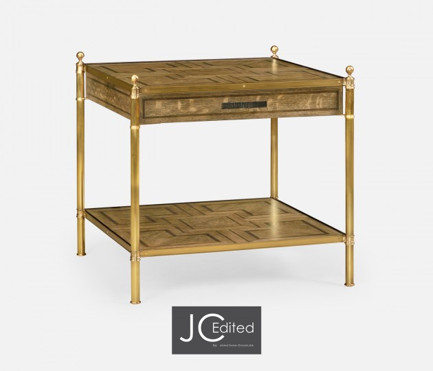 Square English Brown Oak Lamp Table with Drawer