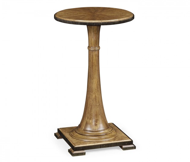 Small Round English Brown Oak Wine Table