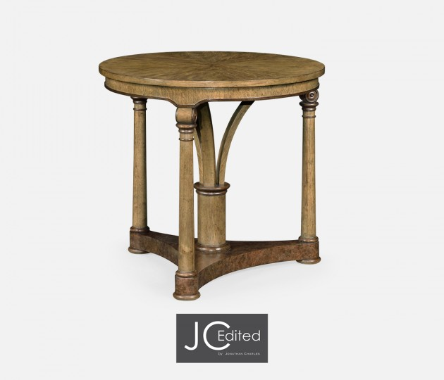 Round English Brown Oak Lamp Table