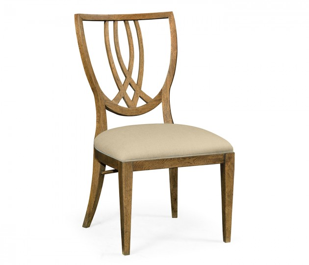 Shield Back English Brown Oak Dining Side Chair, Upholstered in MAZO
