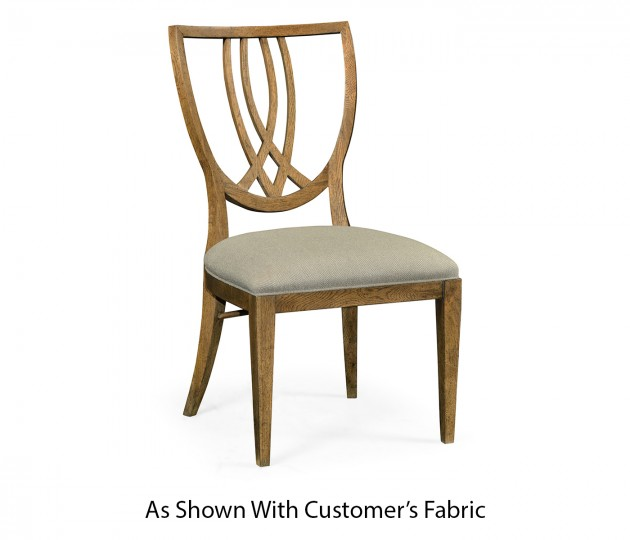Shield Back English Brown Oak Dining Side Chair, Upholstered in COM
