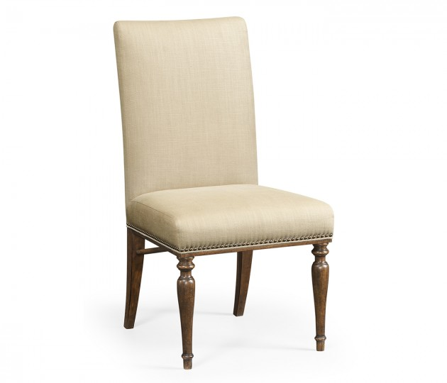Square Back Bleached Crotch Walnut Dining Side Chair, Upholstered in MAZO