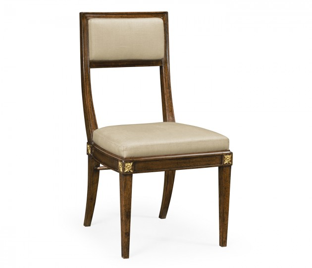 Open Back Bleached Crotch Walnut Dining Chair, Upholstered in MAZO
