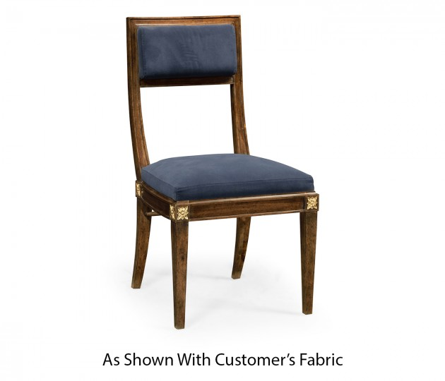 Open Back Bleached Crotch Walnut Dining Chair, Upholstered in COM
