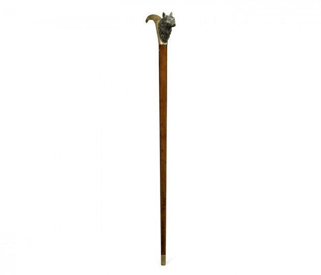 Mahogany Walking Stick with Brass Wolf Topper