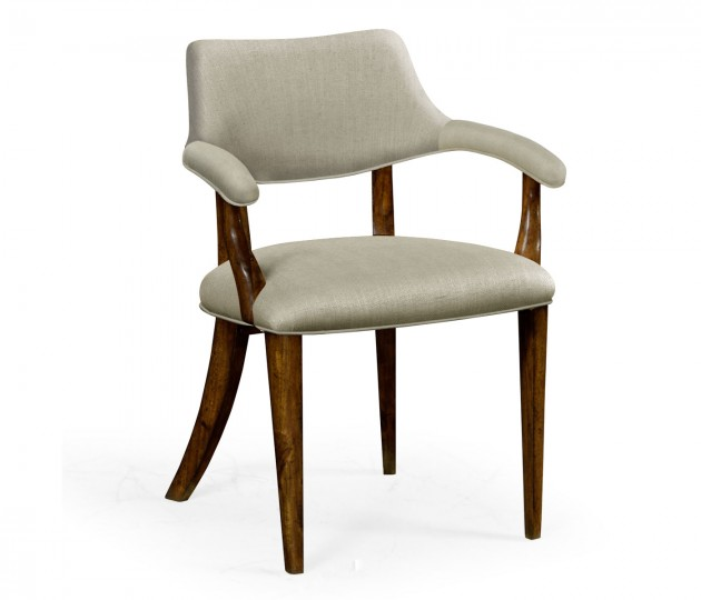 Walnut Library Arm Chair, Upholstered in MAZO