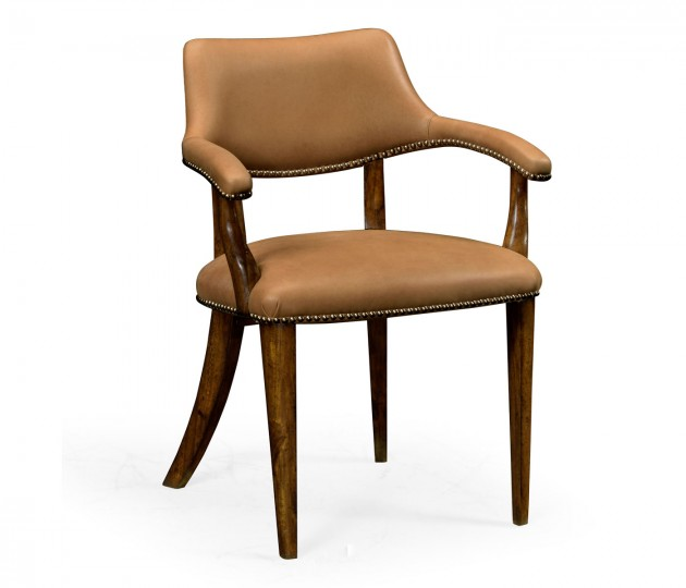 Walnut Library Armchair, Upholstered in Light Brown Leather