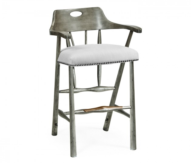 Smokers Style Antique Dark Grey Bar Stool, Upholstered in COM