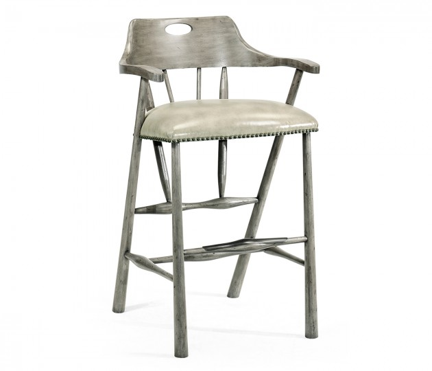 Smokers Style Antique Dark Grey Bar Stool with Grey Leather
