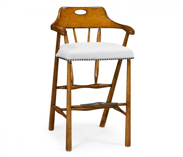 Smokers Style Country Walnut Bar Stool, Upholstered in COM