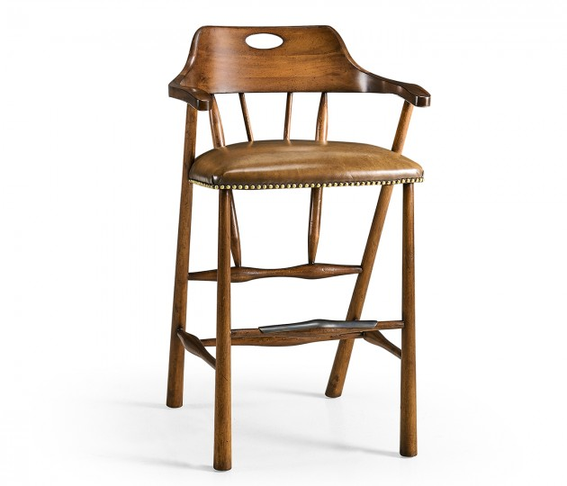 Smokers Style Country Walnut Bar Stool with Antique Chestnut Leather
