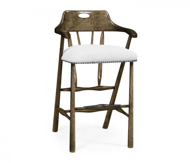 Smokers Style Dark Driftwood Bar Stool, Upholstered in COM