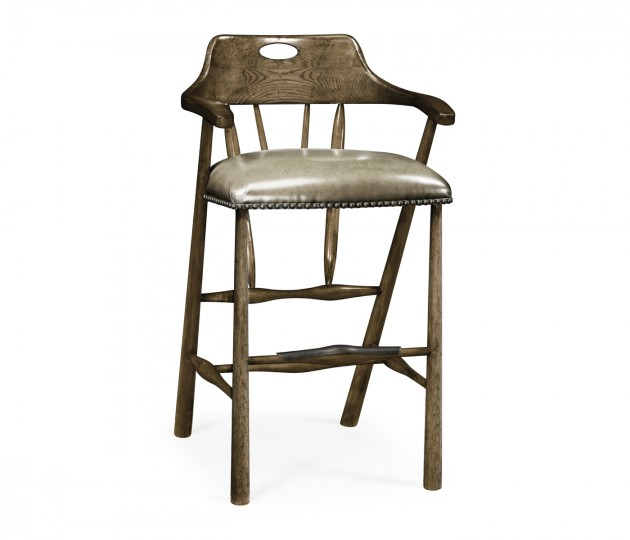 Smokers Style Dark Driftwood Bar Stool with Haven Leather