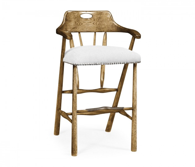 Smokers Style Medium Driftwood Bar Stool, Upholstered in COM