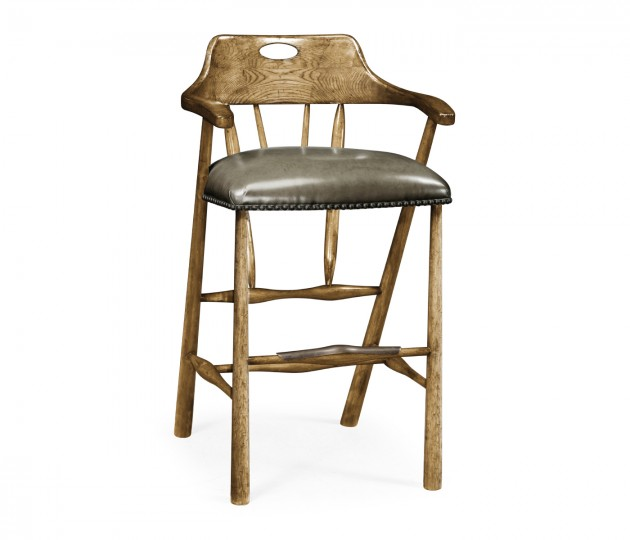 Smokers Style Medium Driftwood Bar Stool with Haven Leather