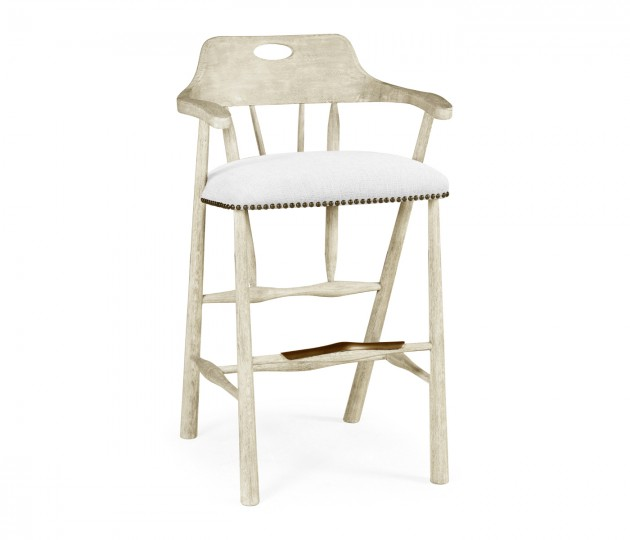 Smokers Style Whitewash Driftwood Bar Stool, Upholstered in COM