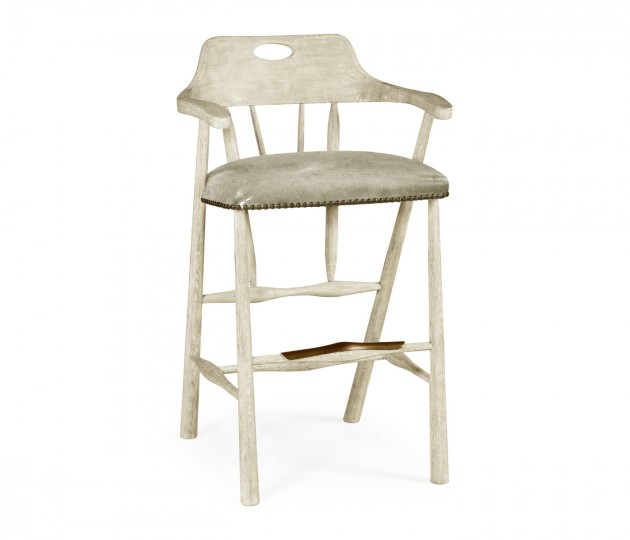 Smokers Style Whitewash Driftwood Bar Stool with Haven Leather