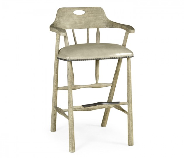 Smokers Style Grey Oak Bar Stool with Grey Leather