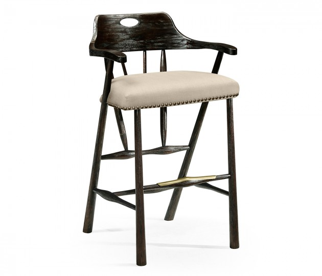 Smokers Style Dark Ale Bar Stool, Upholstered in MAZO