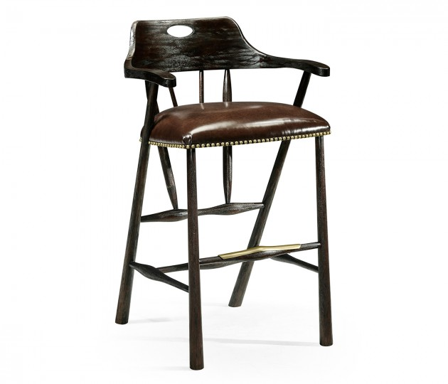 Smokers Style Dark Ale Bar Stool with Dark Antique Chestnut Leather