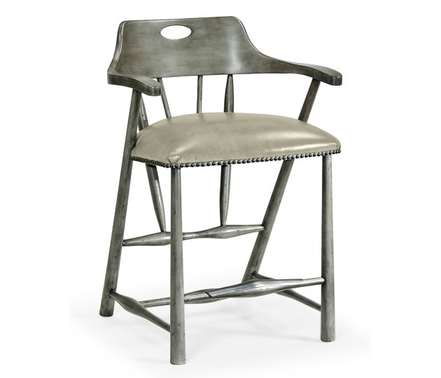 Smokers Style Antique Dark Grey Counter Stool with Grey Leather