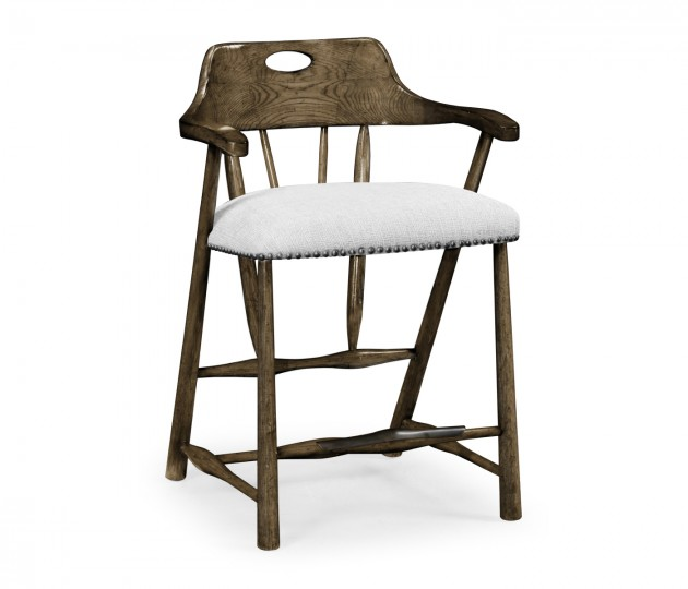 Smokers Style Dark Driftwood Counter Stool, Upholstered in COM