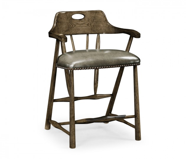 Smokers Style Dark Driftwood Counter Stool with Haven Leather