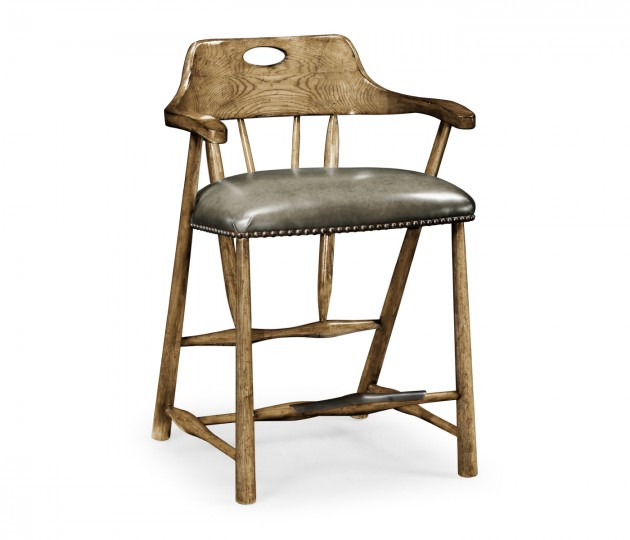 Smokers Style Medium Driftwood Counter Stool with Haven Leather