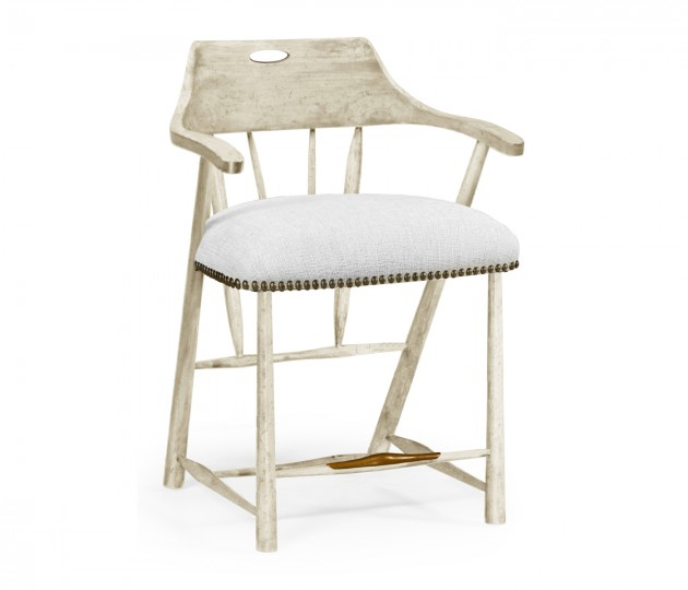Smokers Style Whitewash Driftwood Counter Stool, Upholstered in COM