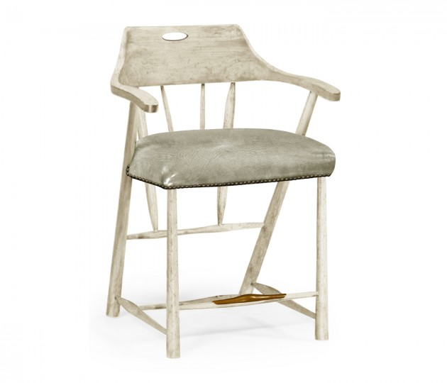 Smokers Style Whitewash Driftwood Counter Stool with Haven Leather