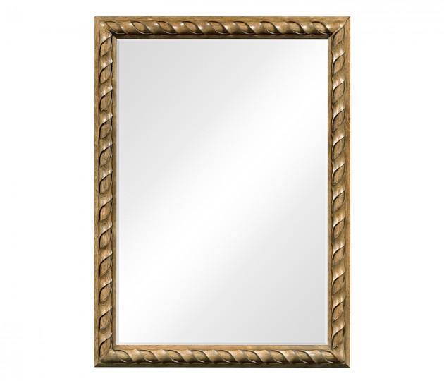 Large Rectangular English Brown Oak Hanging Mirror