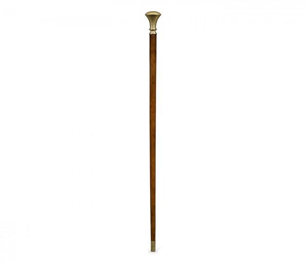 Mahogany Walking Stick with Brass Pommel Topper