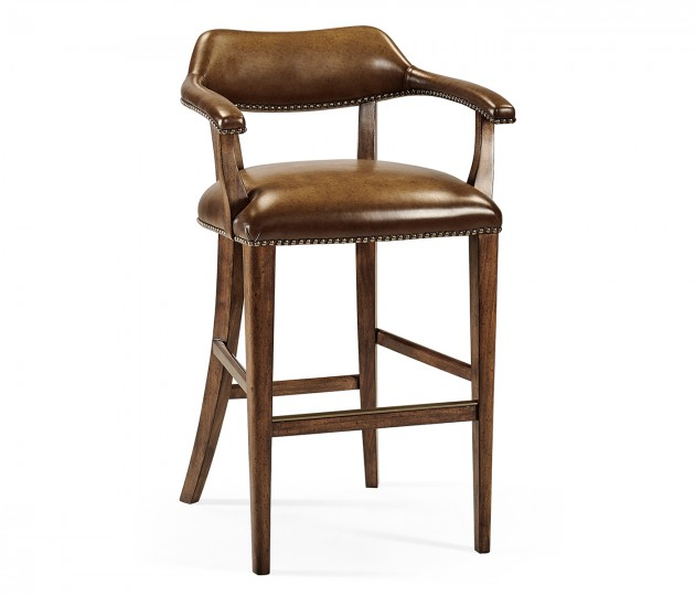 Walnut Library Bar Stool, Upholstered in Antique Chestnut Leather