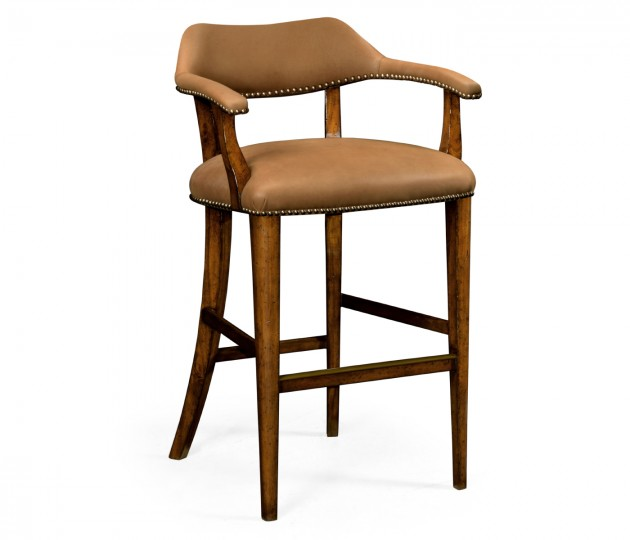 Walnut Library Bar Stool, Upholstered in Light Brown Leather
