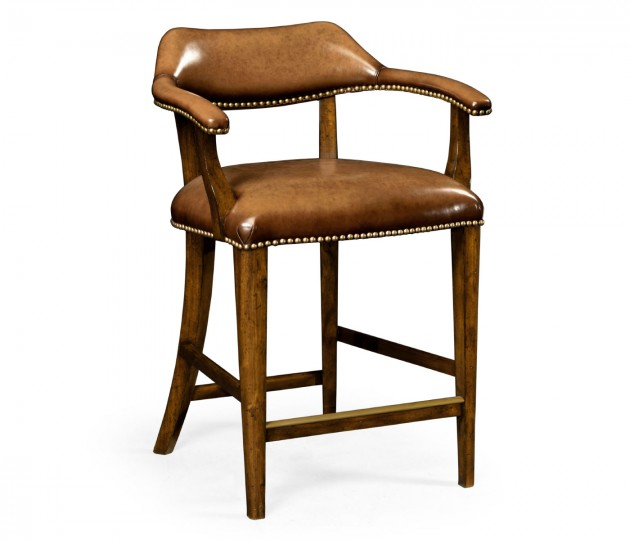 Walnut Library Counter Stool, Upholstered in Antique Chestnut Leather