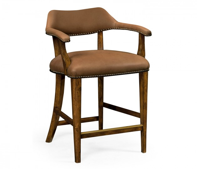 Walnut Library Counter Stool, Upholstered in Light Brown Leather