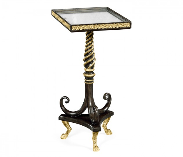 Square Charcoal & Gilded End Table with Antique Mirror Top