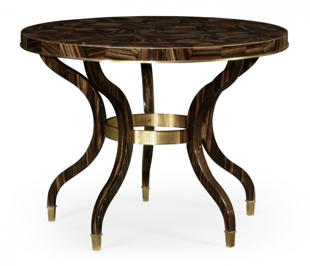 Round Natural Macassar Ebony & Brass Centre Table