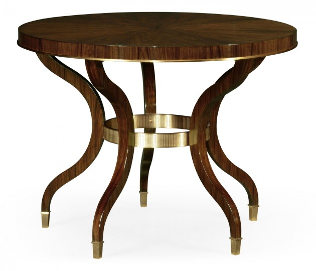 Round Dark Santos & Brass Centre Table