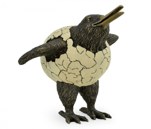 Antique Dark Bronze Kiwi in Broken Eggshell