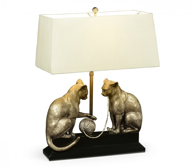 Antique Dark Bronze Cats & Yarn Lamp